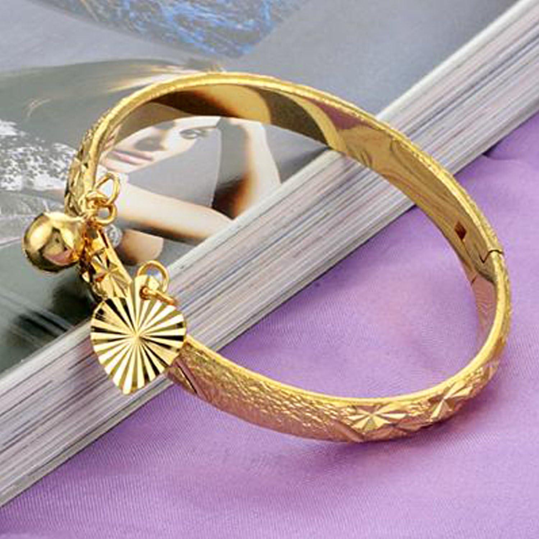 avec pendentif c/œur et grelot Fate Love Bracelet en plaqu/é or 18/carats pour enfant
