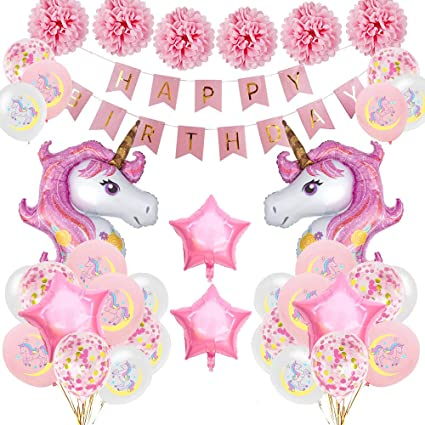 Specool Anniversaire Licorne Décoration Fournituresrose Joyeux Anniversaire Bannière Set Avec 2 énorme Licorne Balloons Confetti Ballons Birthday