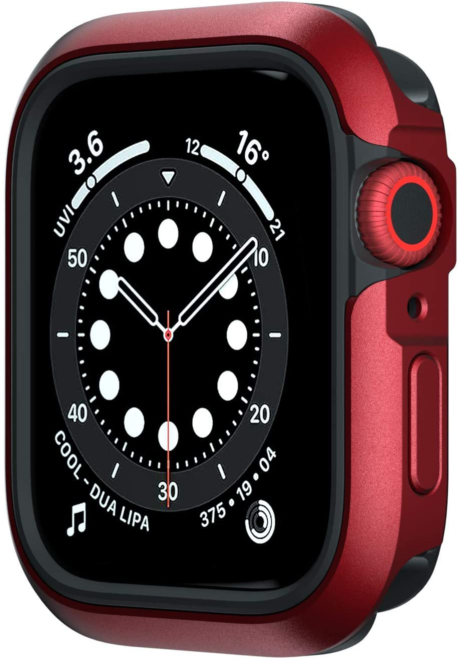 SwitchEasy Odyssey Case Compatible with Apple Watch Series 6/SE/5/4 44mm, Metal + TPU 2-in-1 Bumper case, Anti-Scratch, Shockproof Protection - Space Red