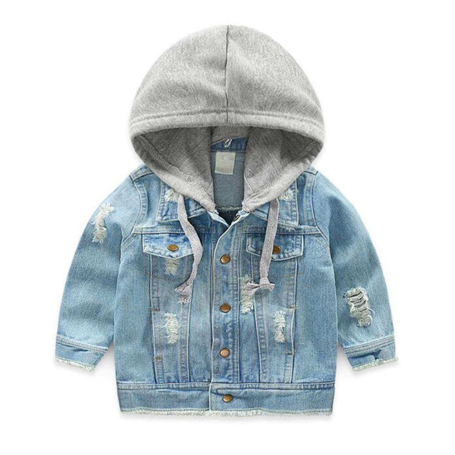 b69db5a1a1c8 Amazon.com  Vintage Girls Jeans Jacket for Baby Boys Hooded Denim ...