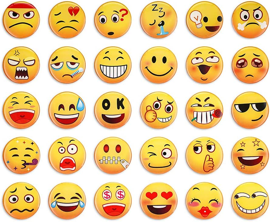 30Pcs Pecfect Emoji Magnets,Fridge Refrigerator Decorative Magnet, Cute Funny 3D Magnetic Decor for Lockers Cabinet Whiteboard Offices Gifts for Kids Toddlers and Adult
