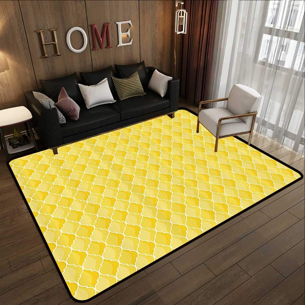 Pattern07 71 x 81.5 (W180cm x L210cm) Carpet mat,Yellow Decor,Modern Artdeco Style Design Forest with Birds and Trees Artwork,White Black and Amber 63 x 94  Floor Mat Entrance Doormat