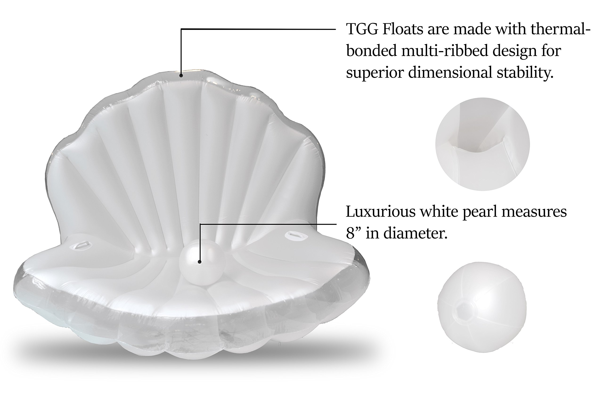 TGG Colossal Sea Shell Pool Float/ Swimming Pool Inflatable Raft 62 x 54 x 54 inches (Pearl White w/ White Handles) by Tgg (Image #6)
