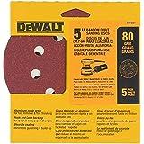 DEWALT DW4301 5-Inch 8 Hole 80 Grit Hook and Loop Random Orbit Sandpaper (5-Pack)