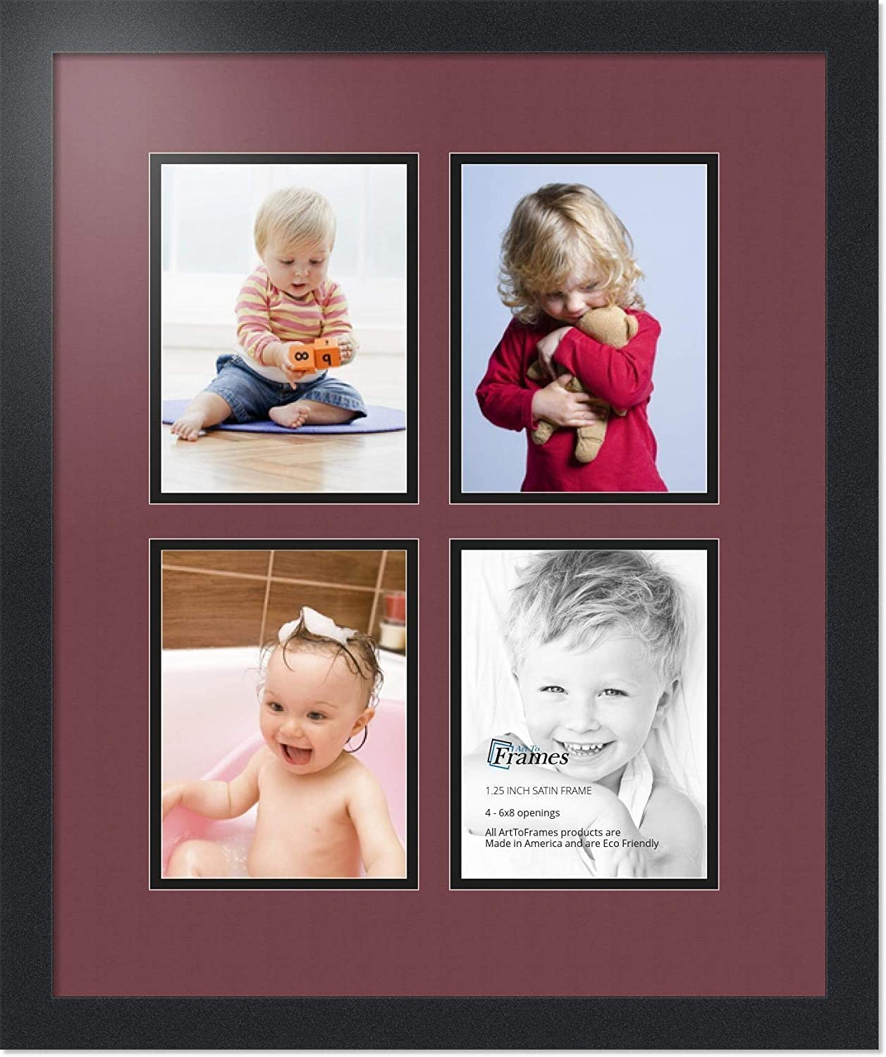 ArtToFrames Collage Photo Frame Double Mat with 4-6x8 Openings and Satin Black Frame Double-Multimat-534-594//89-FRBW26079