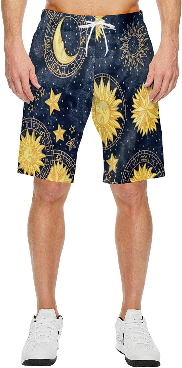 Fantasy Star Mens Lightweight Slim Fit Quick Dry Beach Shorts American War of Independence Surf Beach Pants with Mesh Lining