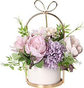 Nubry Artificial Flowers with Vase Fake Peony Silk Hydrangea Faux Wildflowers Arrangements in Vase for House Table Office Desk Decor (Purple)
