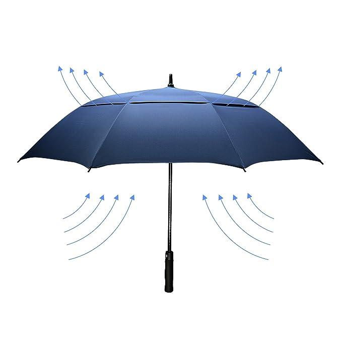 4 opinioni per Dmkaka 154,9cm auto ombrello aperto ombrello extra large Dual Canopy Golf