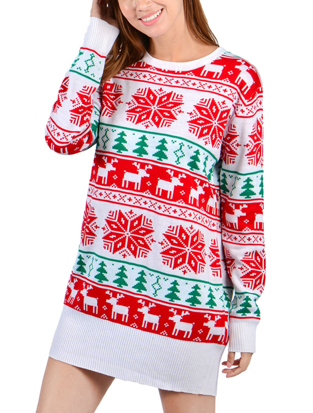 Idgreatim Women Ladies Christmas Reindeer Snowflake Knit Long Sleeve Tunic Sweater Dress Red Medium