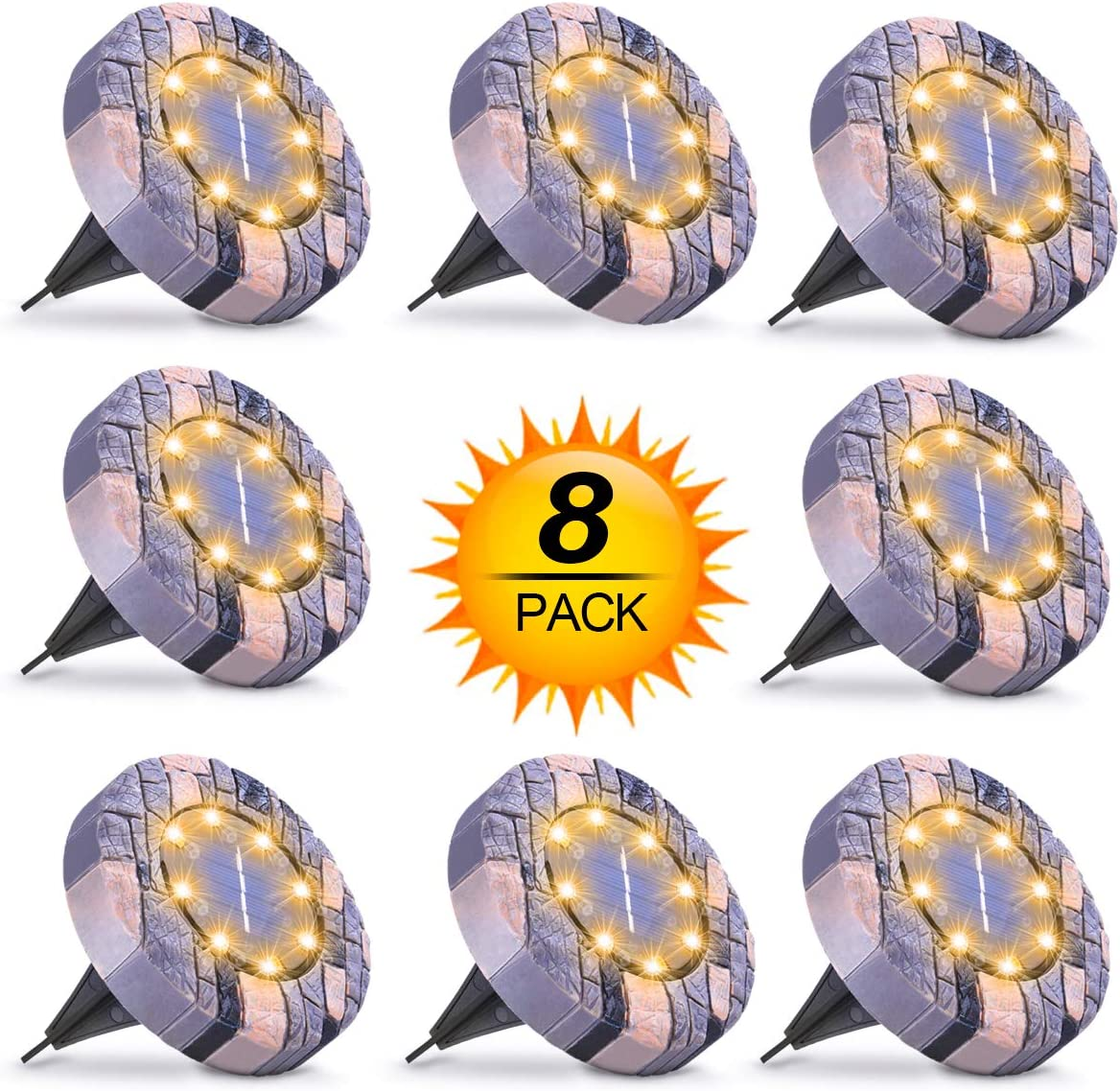 Solar Lights Outdoor, Solar Powered Ground Lights Outdoor Waterproof Solar Garden Lights 8 LED Solar Disk Lights, Solar Landscape Lights for Pathway Yard Walkway Patio Lawn Path 8 Pack Warm White