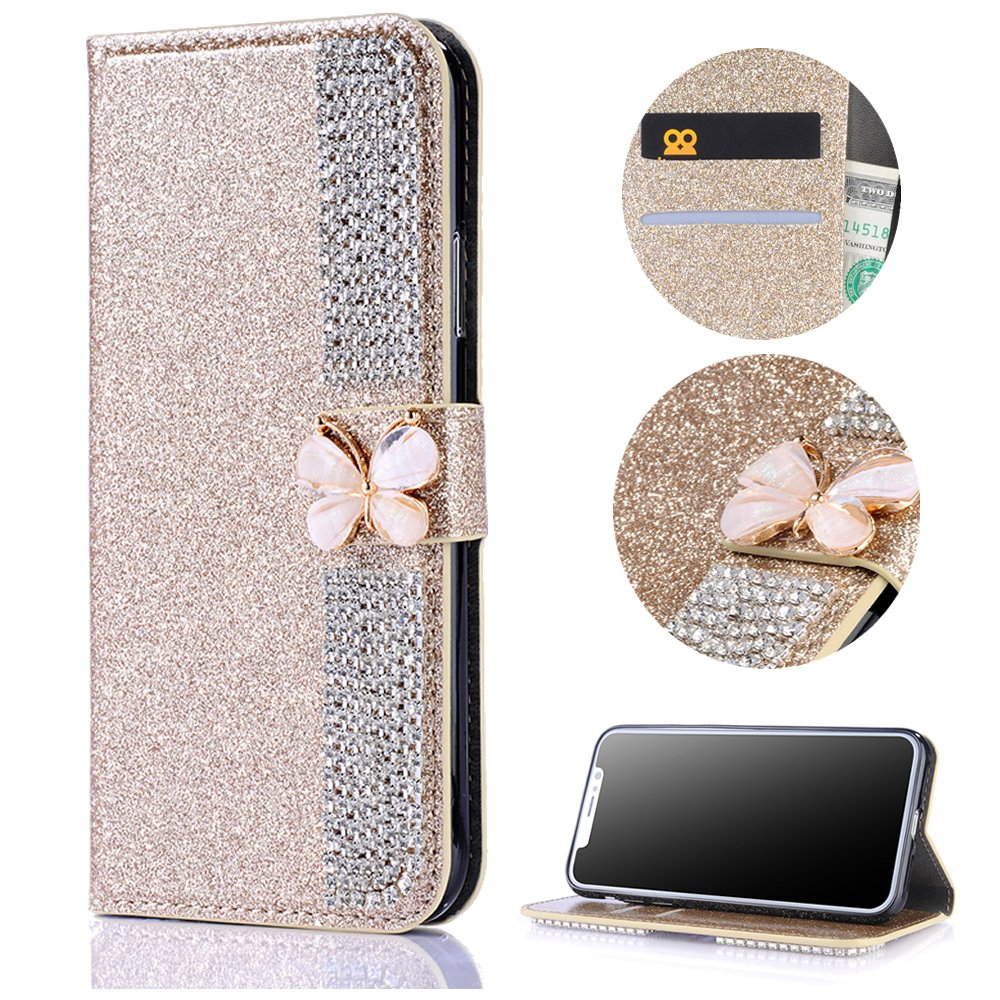 Stysen Wallet Case for Huawei P10 Lite,Bling Gold Bookstyle with Strass Butterfly Bowknot Buckle Protective Wallet Case Cover for Huawei P10 Lite-Diamond,Gold