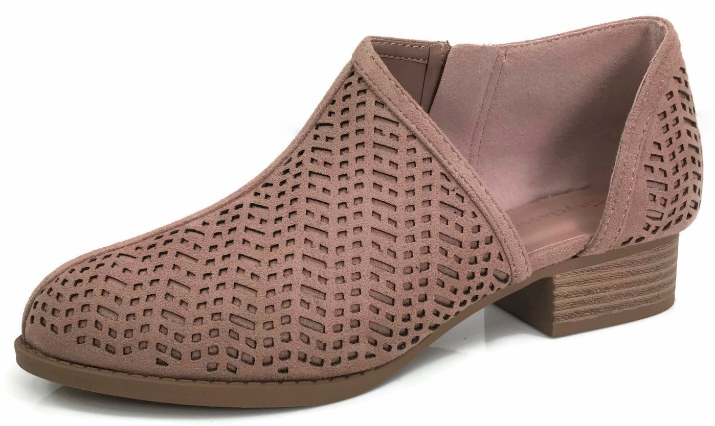 Womens Ankle Bootie D'Orsay Cut Out Perforated Open Side Closed Toe, Blush, 9