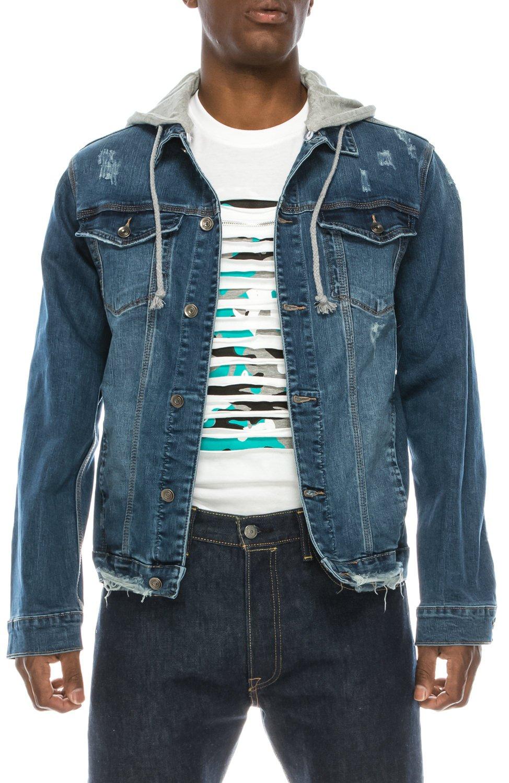 UPSCALE Men's Stretch Denim Jacket w/Removable Hood Blue XL