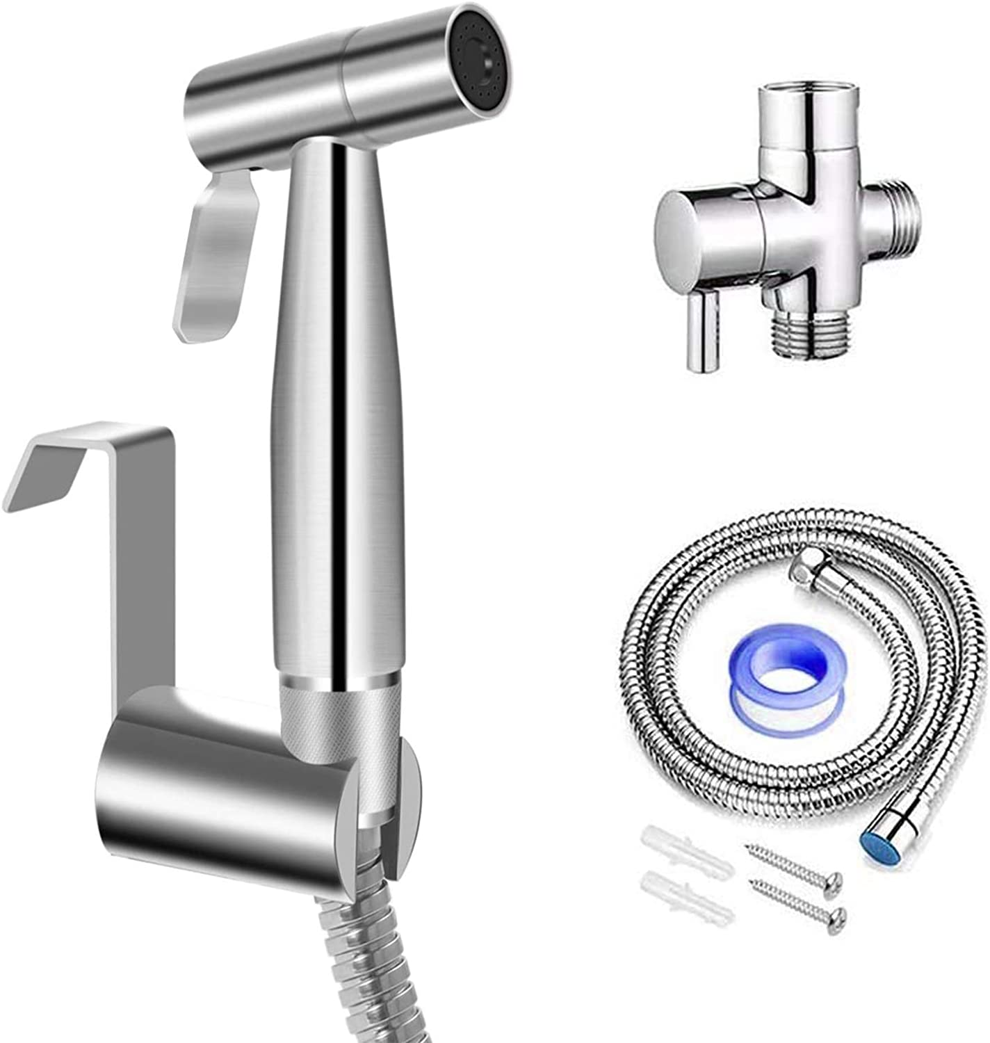 【Upgraded】Cadrim Bidet Sprayer for Toilet- Handheld Stainless Steel Toilet Sprayer Bidet Set for Personal Hygiene Baby Cloth Diaper Cleaning Pet Washing with Anti-Leaking Hose