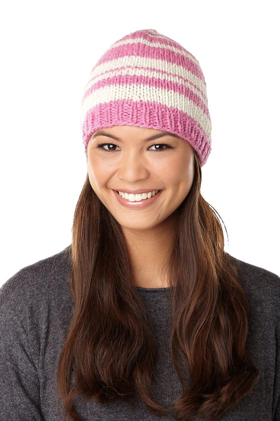 sijjl 'sストライプbeanie-pink、ホワイトstriped-oneサイズ   B0062OT6LW