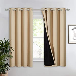 NICETOWN Bedroom Full Blackout Curtain Panel, Super Thick Insulated Window Cover, Complete Blackout Drapery with Black Liner for Short Window(Biscotti Beige, 1 PC, 52 by 63-inch)