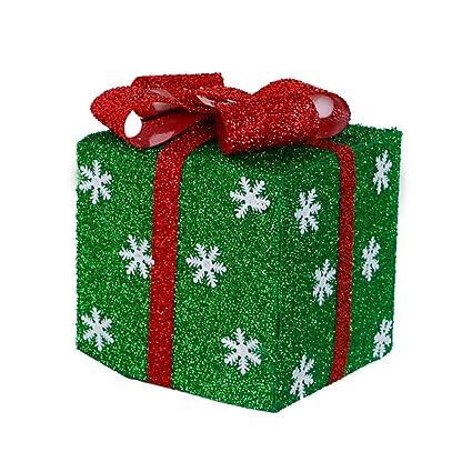 Ouken 5.9 * 5.9 inchs Navidad Caja de Regalo de la decoración con Cinta y Copos