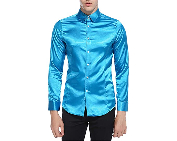 Jimmetfrend Silk Satin Shirt Men Shirt Long Sleeve Slim Fit Emulation Silk Casual Button Down Dress Shirts at Amazon Mens Clothing store: