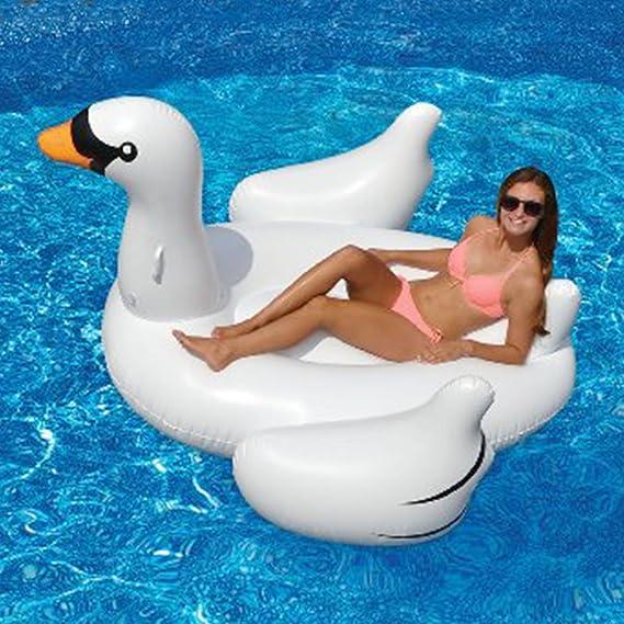 Juguetes gigantes para nadar - Balsa flotante inflable de la piscina del cisne - Juguete inflable grande flotante de la piscina al aire libre para los ...
