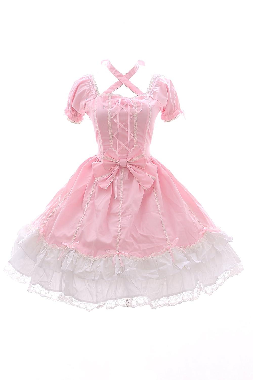 JL 624 2 Rosa weiß Kleid Stretch Classic Gothic Lolita