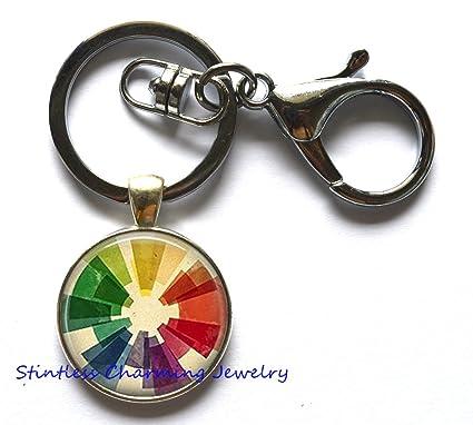 Amazon Com Vintage Color Wheel Key Ring Keychain Colorful Geometric