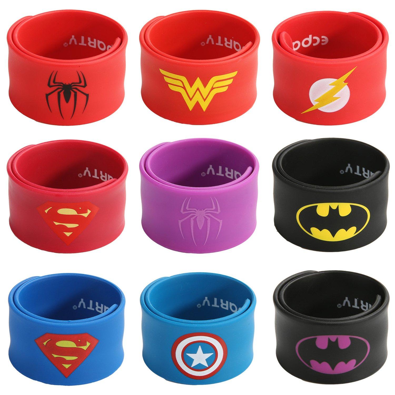 Ecparty Superhero Slap Bracelet for Kids Boys & Girls Birthday Party Supplies Favors (9 Pack) (9 Pack)