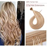 I Tip Human Hair Extensions Cold Fusion Hairpiece 100 Strands/Pack Pre Bonded Keratin Stick Tipped Hair Extensions Long…