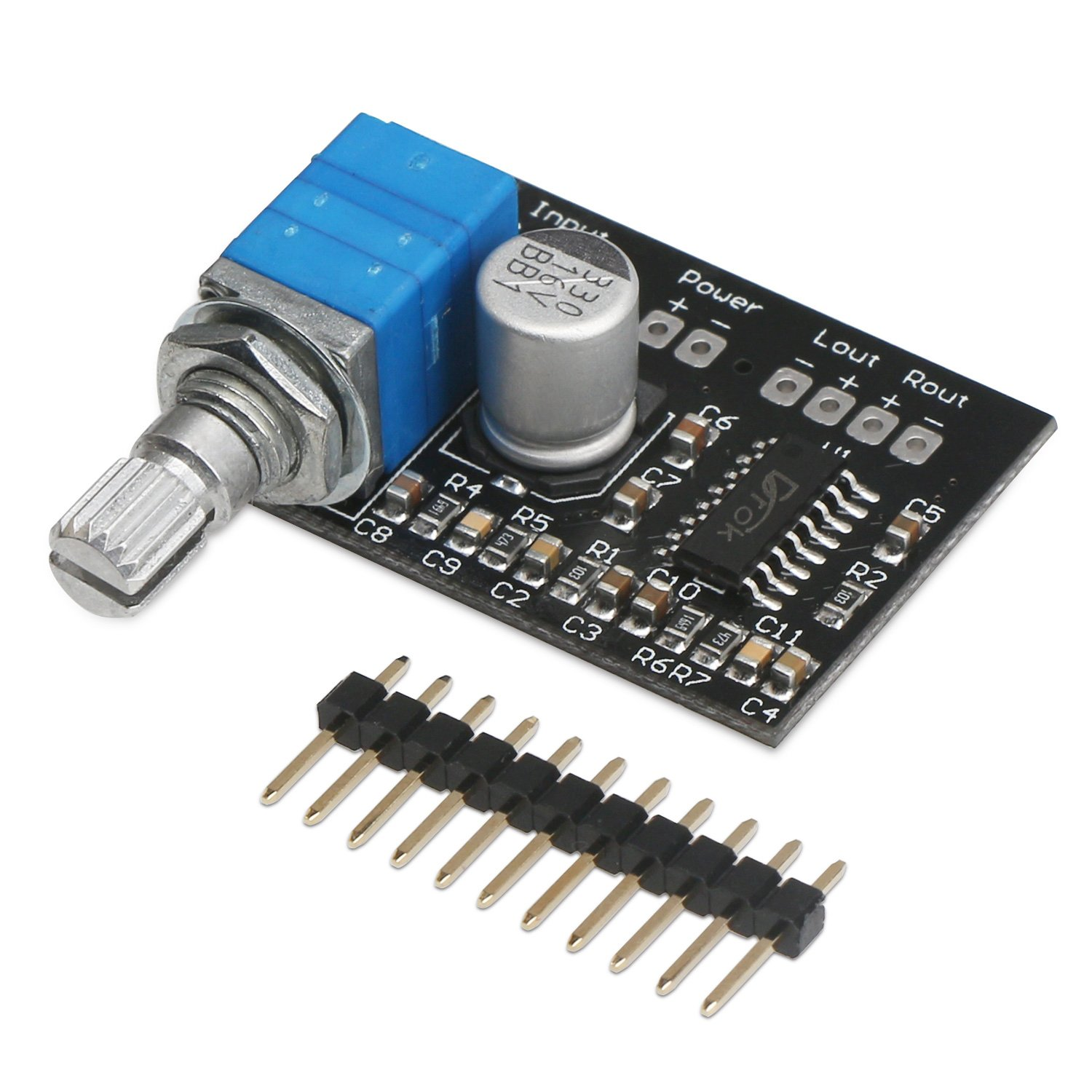 DROK Super Small 3W+3W DC 5V Audio Amplifier Handy Digital Power Amp Module Board Dual-channel PAM8403 Stereo Amplifiers with Potentiometer for DIY portable 90155