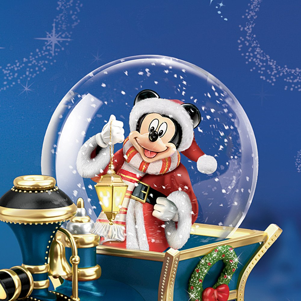 Disney Mickey Mouse Miniature Snowglobe: Santa Mouse Is Comin' To Town by The Bradford Exchange by Bradford Exchange (Image #2)