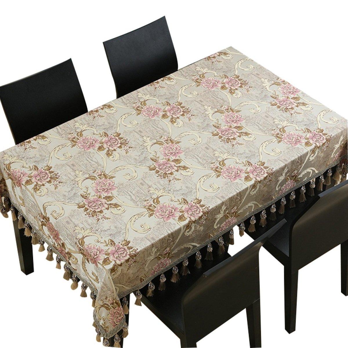 Beige 140240cm TAO Nappe Tissu Chemin de Table Thé Table Tissu Rectangulaire Maison Salon Table Ouest Tissu Table Table Basse Sale Facile à Nettoyer (Couleur   Vert, taille   140140cm)