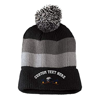 477c58e42dc Custom Text Embroidered Lacrosse Sports  6 Unisex Adult Acrylic Vintage  Striped Removable Pom Pom Beanie