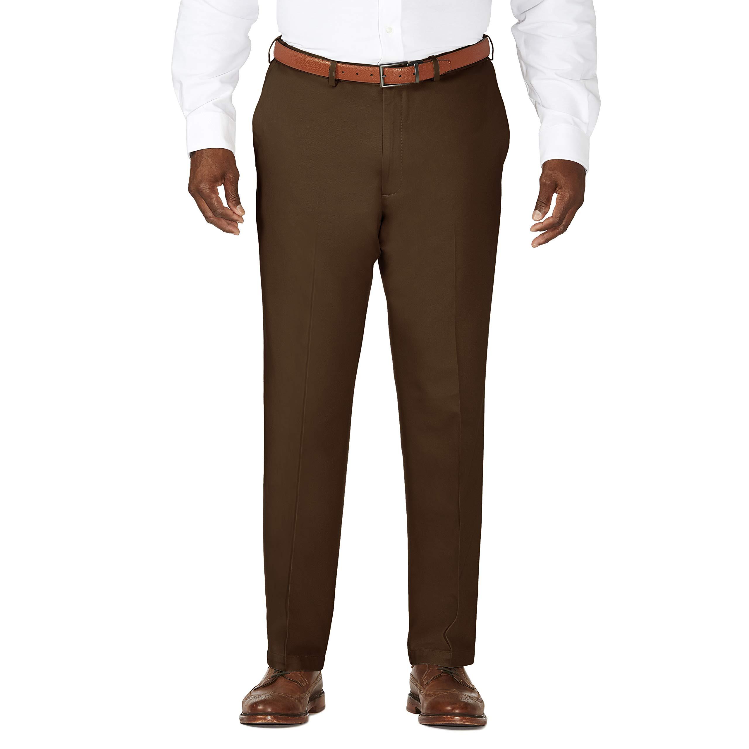 Haggar Men's Big-Tall Work To Weekend Hidden Expandable Waist Plain Front Pant, Bean, 44x34