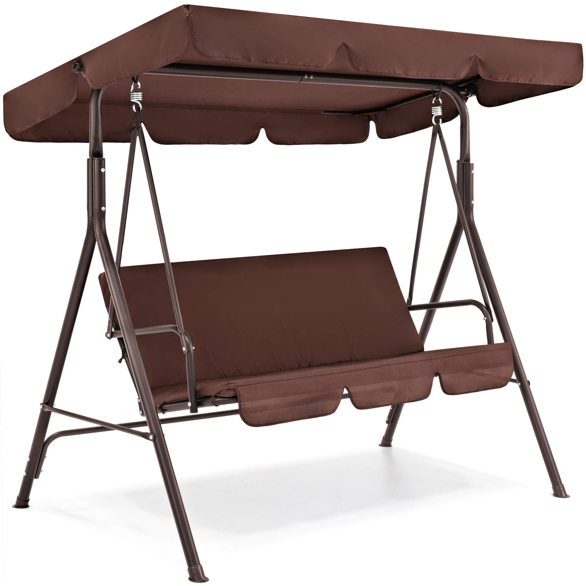 Best Choice Products 2-Person Outdoor Large Convertible Canopy Swing Glider Lounge Chair w/Removable Cushions