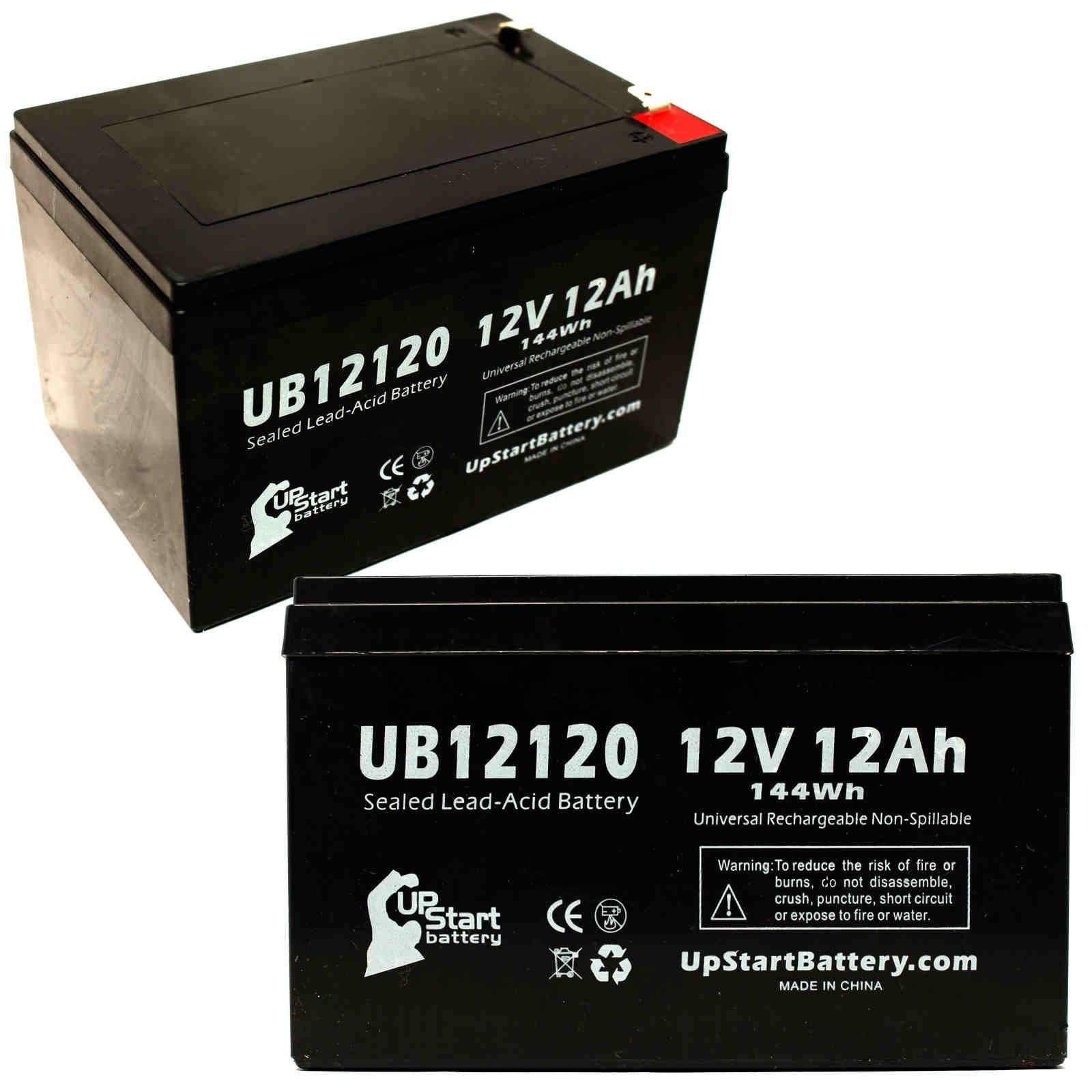 2x Pack - Pm Battery LA12120 Battery - Replacement UB12120 Universal Sealed Lead Acid Battery (12V, 12Ah, 12000mAh, F1 Terminal, AGM, SLA) - Includes 4 F1 to F2 Terminal Adapters - APC SMART-UPS 1000