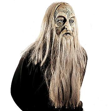 Máscara de Mago con Pelo y Barba | Antifaz de Viejo | Careta Anciano con Pelo
