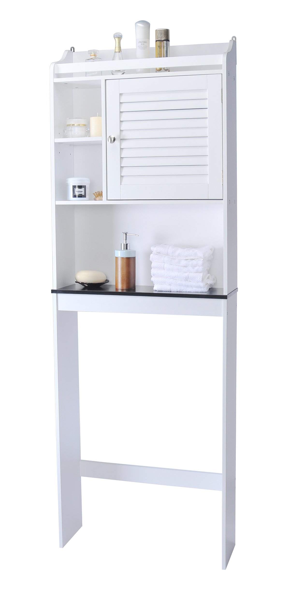 Spirich Home Bathroom Shelf over the toilet, Bathroom Cabinet Organizer over toilet with Louver Door, White Finish by Spirich Home (Image #2)