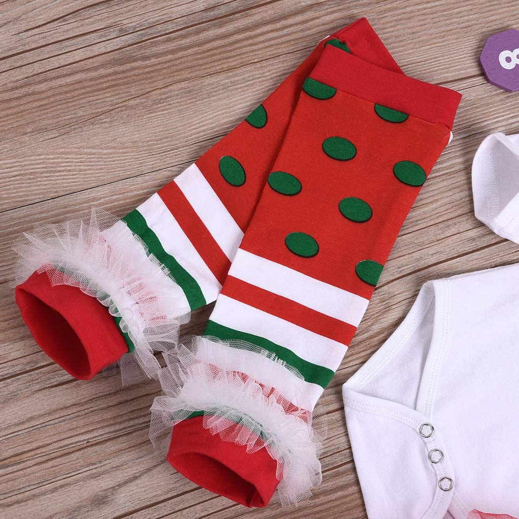 Baby Toddler Girls Christmas Clothes Outfits for 6-24 Months Long Sleeve Romper Tops Tutu Dress Hairband Set