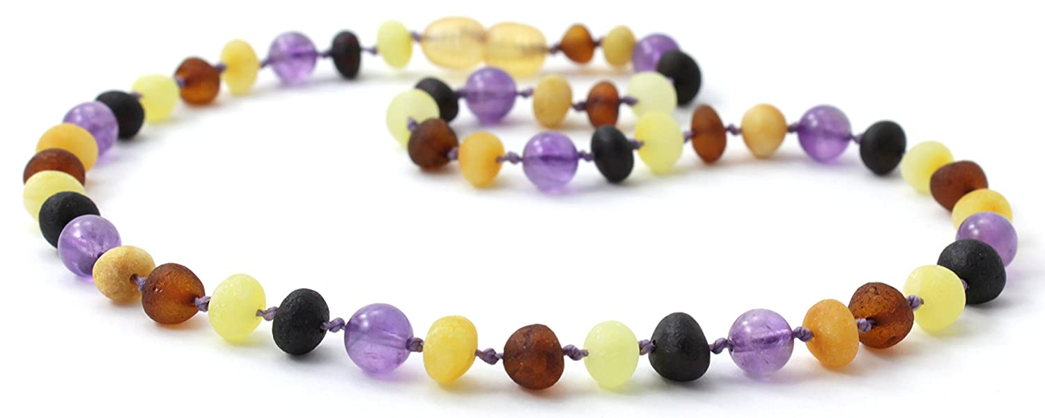 Unpolished Baltic Amber Teething Necklace made with Amethyst Beads - Size 11 inches (28 cm) - BoutiqueAmber (11 inches, Raw Multi/Amethyst)