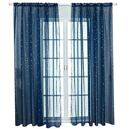 Amazon.com: Kid Boy Room Window Sheer Navy Blue Curtain Panel Rod ...