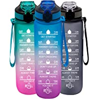 YORKZONE 1L Water Bottle with Straw, Drink Bottle with Time Markings, Motivational Water Bottle for Sports Fitness, Gym…