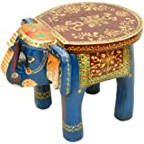 Vintage Clock Thevintagedecor Wooden Elephant Table Cum Stool / Handcrafted With Artistic Painting Idols & Figurines