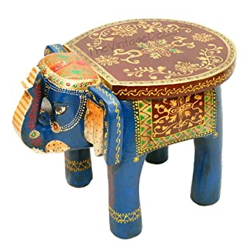 Charmant Buy Vintage Clock Artistic Painting Wooden Elephant Table Cum  Stool(Multicolour) Online At Low Prices In India   Amazon.in