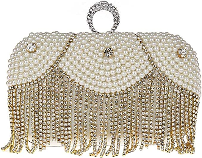 KAXIDY Sac a Main de Soiree Pochette Soir/ée de Mariage Perles Imitation Cristal Sacs Pochette