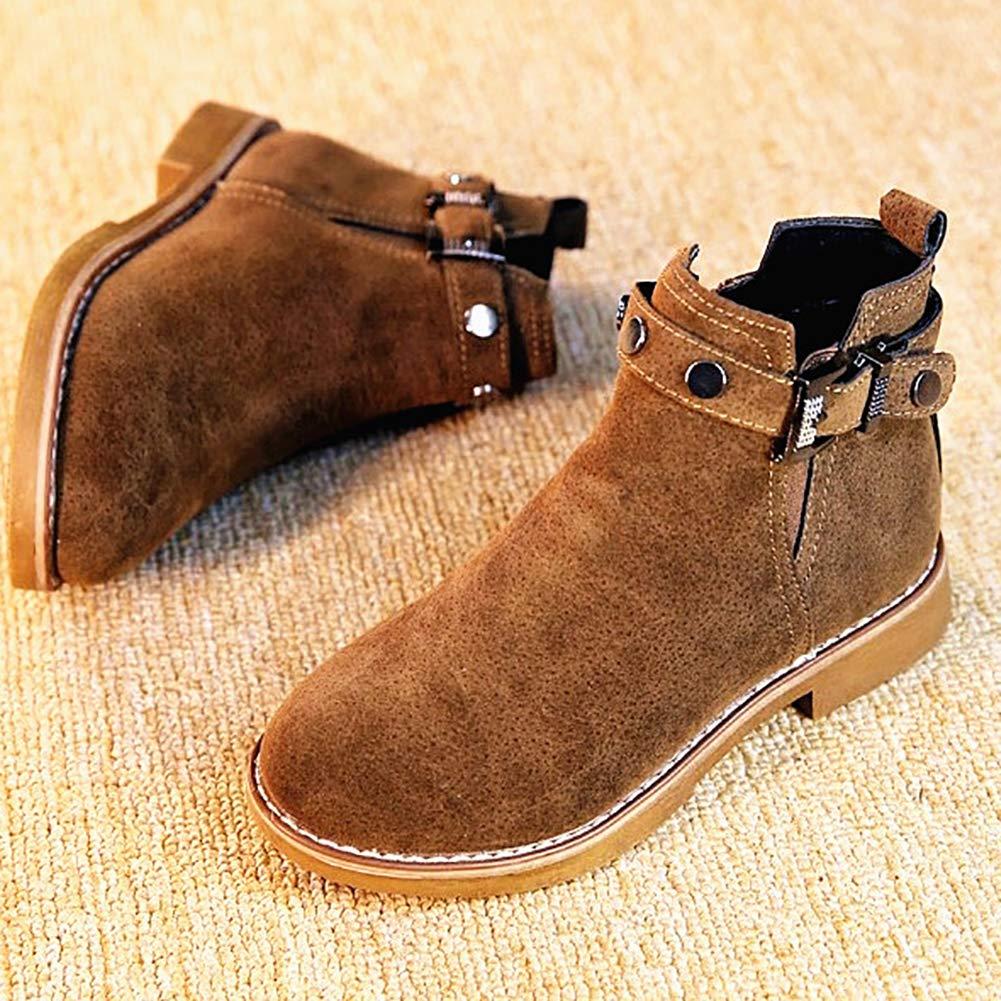 UBELLA Girls Faux Suede Side Zipper Low Heel Ankle Boots Fleece Lined Winter Warm Martin Boots
