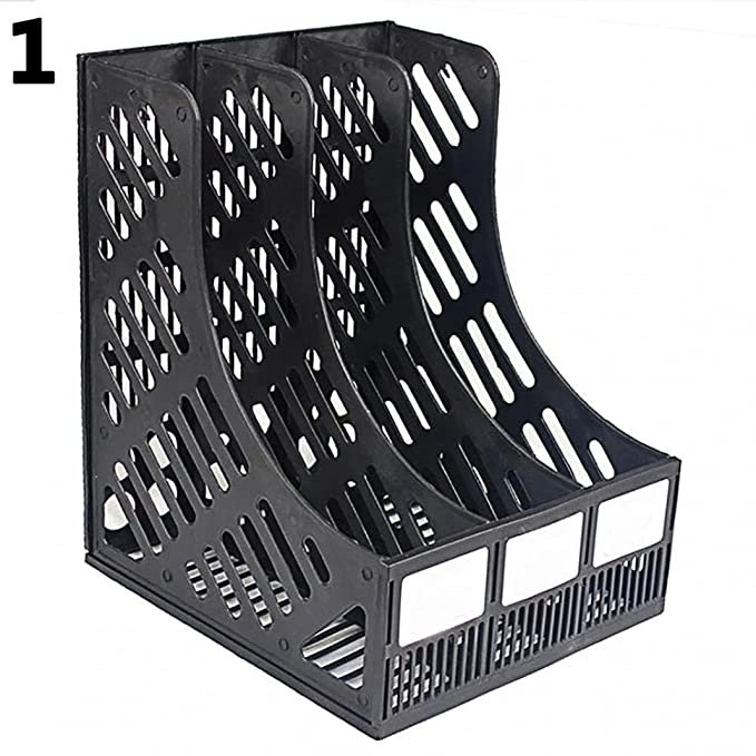 Amazon.com: 3 Compartment Magazine File Stand Holder Document Storage Desktop File Folder Organizer Stand Mesh Collection Stacking Sorter for Home Office ...