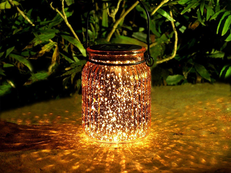voona 2-Pack Mercury Glass Hanging Solar Lights Outdoor and Ground Use Pathway Garden Outdoor Table Decorations (Bronze)