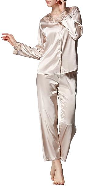 Afibi Women s Classic Satin Pajama Set Sleepwear Long Sleeve Loungewear  (Small 70df09082
