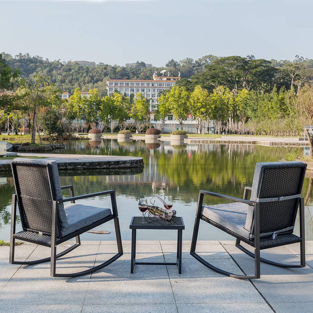 Amazon.com: Juego de 2 sillas mecedoras de patio SSLine con ...