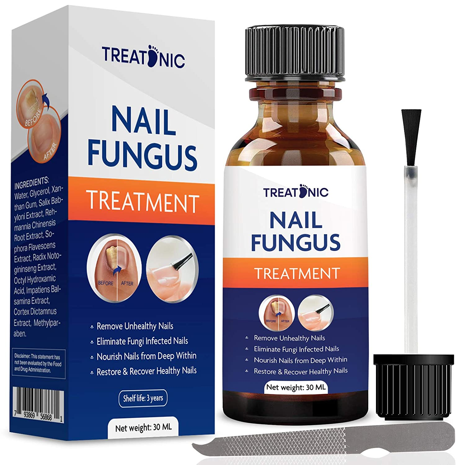 EXTRA STRONG Nail Fungal Treatment - Best Nail Repair Set, Stop Fungal Growth, Effective Fingernail & Toenail Solution, Fix & Renew Damaged, Broken, Cracked & Discolored Nails (1 OZ)