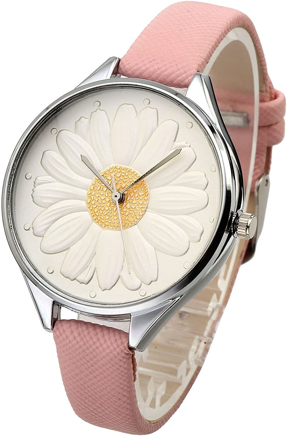 Top Plaza Women Casual Elegant Silver Round Case Thin PU Leather Band Daisy Carve Dial Analog Quartz Watch 30M Waterproof White